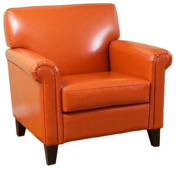 Scrumptious orange leather! Canton Orange Leather Club Chair contemporary-armchairs