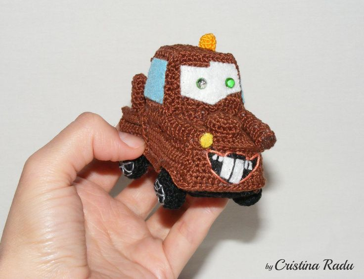 Car toy, Tow Mater, stuffed car, crochet car, collectible Disney characters, miniature car toy, playful Tow Mater, Amigurumi car, toy gift - pinned by pin4etsy.com