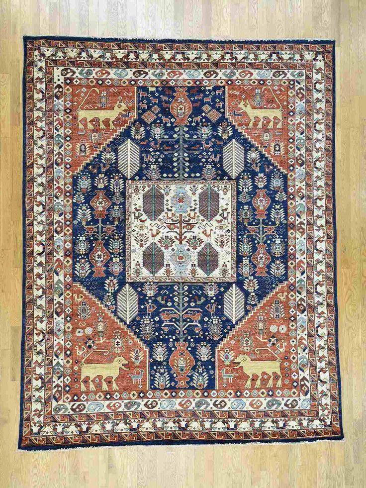 This Navy Blue And Terracotta Primitive Style Area Rug Is A 9 X 12 Custom Rugsstair Runnersoriental Rugstampa Bayprayer