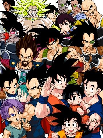 Saiyans, half Saiyans, and Pan who is mostly human but somehow comparably strong (lol non-logic)
