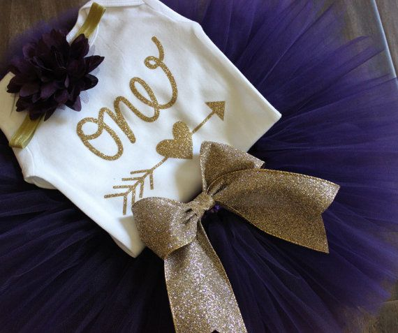 Purple and Gold Birthday Outfit // Hearts by LittlePrincessBottom