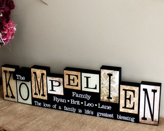Personalized Name Blocks - Anniversary Gifts for Parents - Family Name Blocks - Mantle Centrepiece - Christmas Gifts - 9 Letters Name Sign