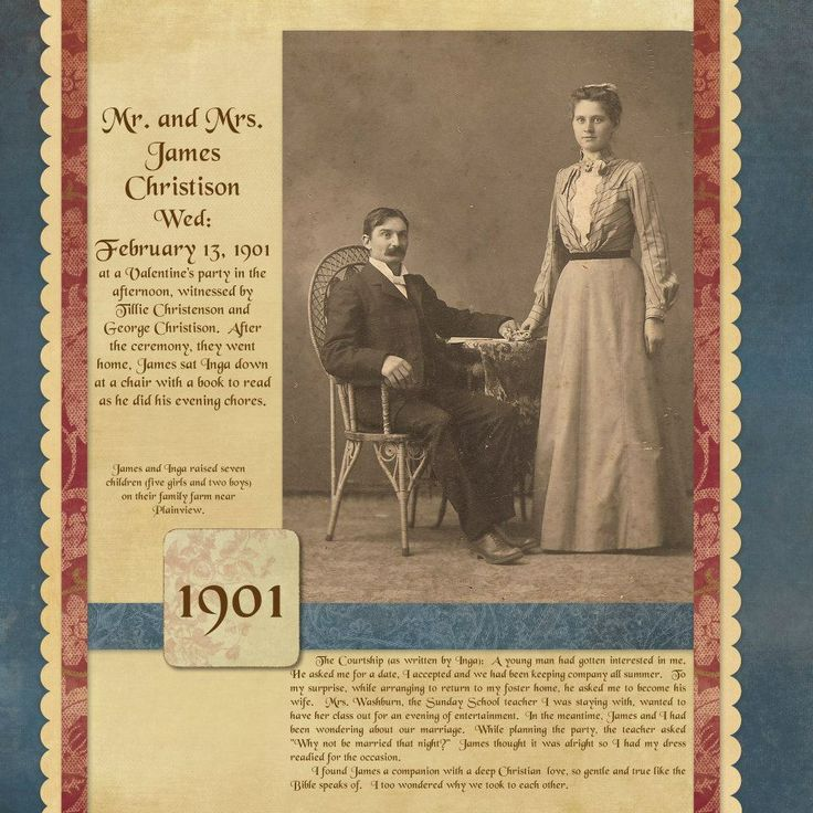 Mr. and Mrs. James Christison, 1901 ~ Striking traditionally designed heritage page.