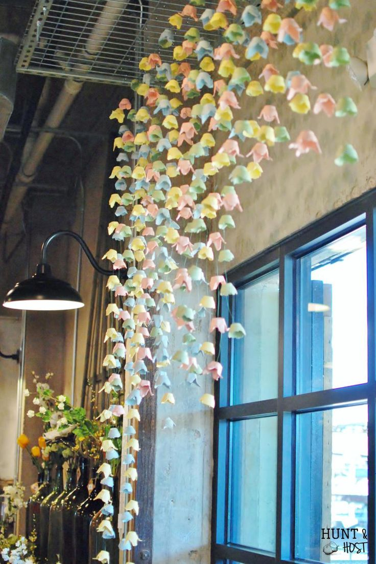 Hanging Spring display - pastel tulip mobile made with painted egg cartons.