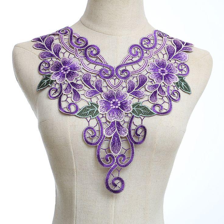 Фиолетовый Крафт полиэстер цветок вышивка Украшенная Кружева Шея Воротник…