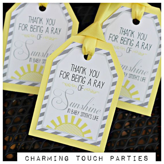 Sunshine baby shower favor tags / party decor / decorations by Charming Touch Parties. Yellow and grey, set of 18, fully assembled.