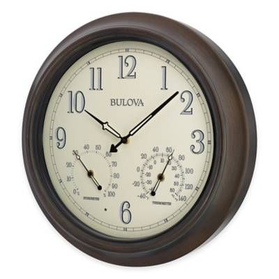 product image for Bulova Illuminated Indoor/Outdoor Wall Clock in Oil Rubbed Bronze