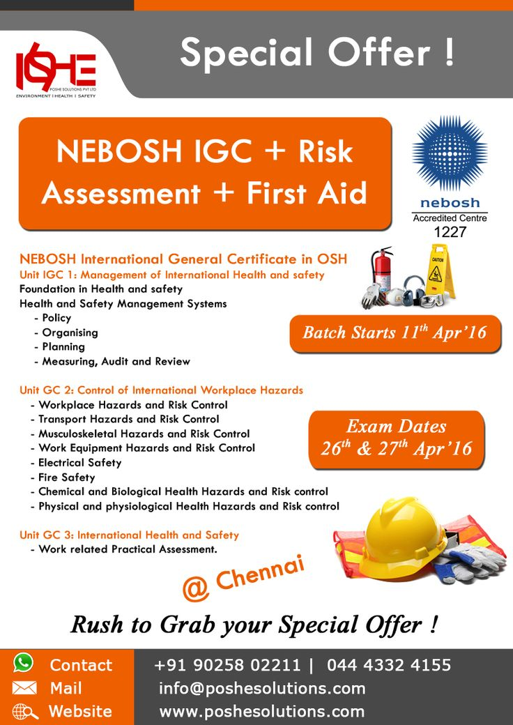 10 best images about NEBOSH IGC in Chennai on Pinterest First - health and safety policy