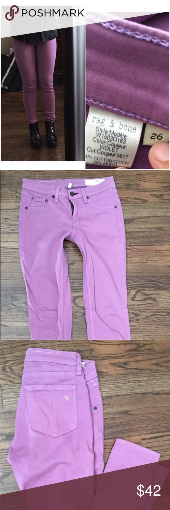 Rag and bone purple skinny jeans Great lavender jean. Great condition Great color Great price!!! Look at my closet for bundle deals :) 20% off 3 items rag & bone Jeans Skinny
