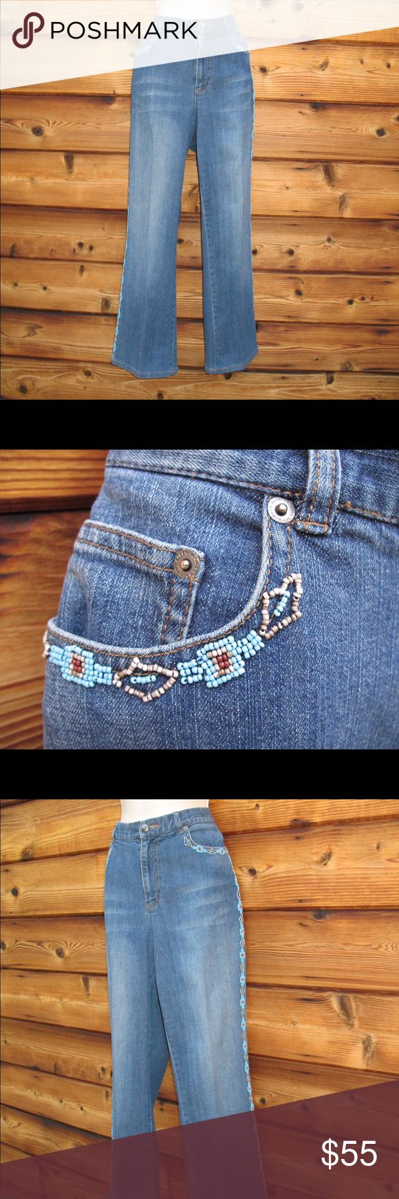 "Lauren Jeans Co High-Waist Southwestern Jeans Lauren Jeans Company High-Waist Southwestern Beaded Jeans  *Very good condition. No stains, holes or other imperfections.No size or material tags.  Details: Lauren Jeans Company Size: 8/10 Color: Medium Blue Button/zip front closure 5-pocket style Baby boot cut Southwestern, turquoise beading on the pockets and down the sides of both legs High-waist Machine wash inside out. Gentle Cycle  Measurements: Waist: 32"" Hips: 38"" Front Rise: 11.5""…"