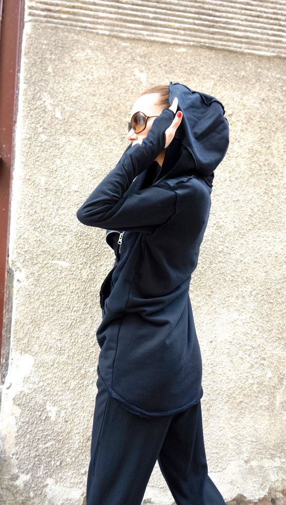 NEW 2016 Fall Black Extravagant Asymmetric Cotton by Aakasha