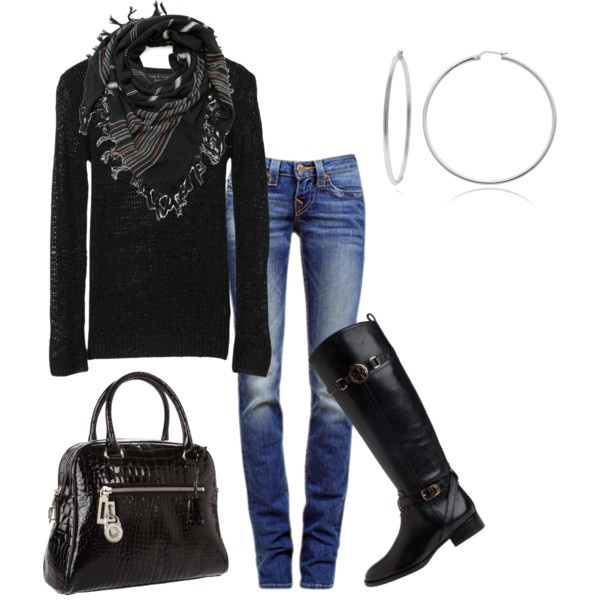 What's not to love? Skinny jeans, hoops, black boots to die for along with a fab scarf, cozy black top and even better -- a must-have black croc bag!