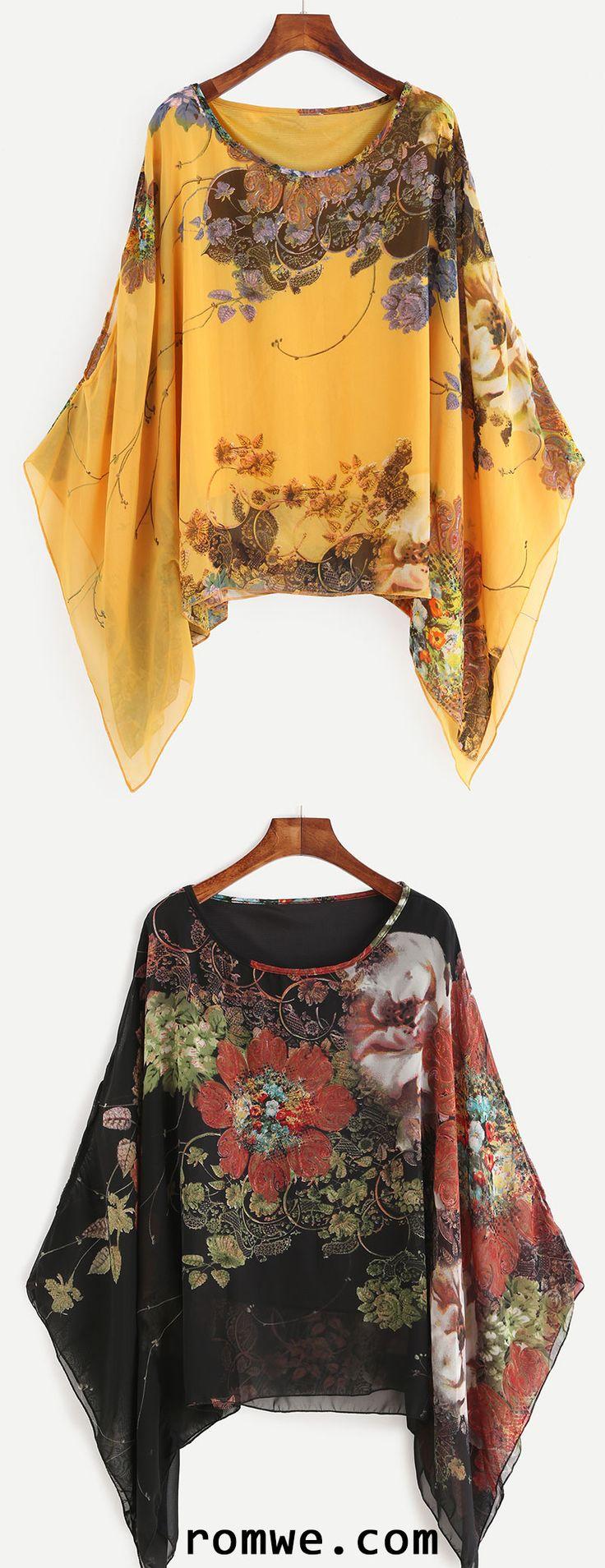 Floral Print Batwing Chiffon Blouse