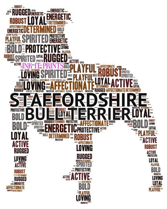 Framed Staffordshire Bull Terrier Word Art by InkItPrints on Etsy