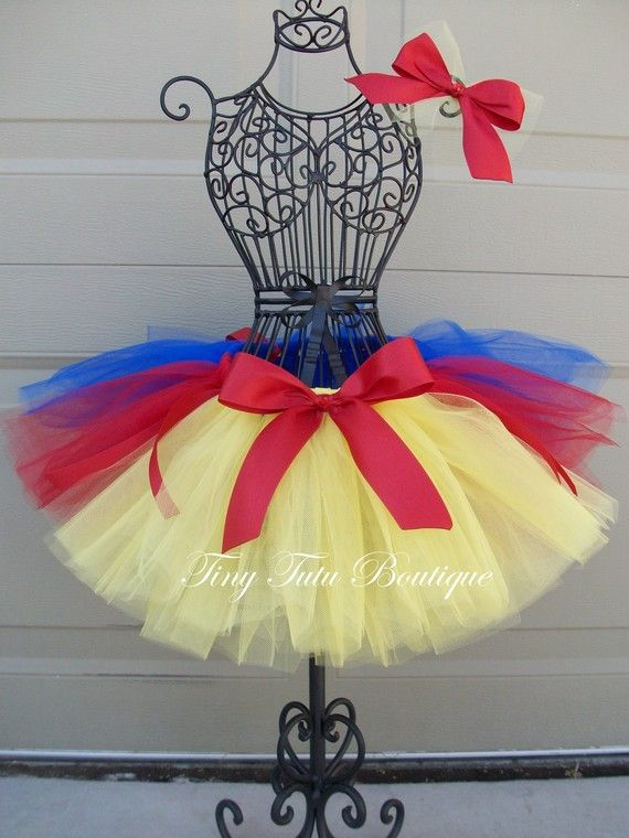 READY to Ship- Snow White- Yellow, Blue, and Red baby/child tutu with FREE hairbow SIZE- 2T/3T. $21.50, via Etsy.
