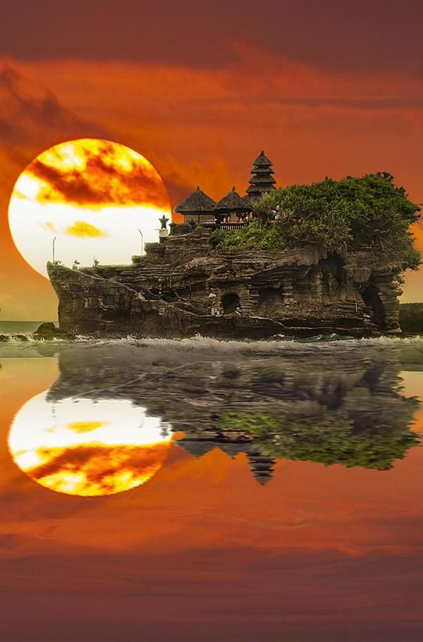A moment in time ~  Bali Moon-set Indonesia