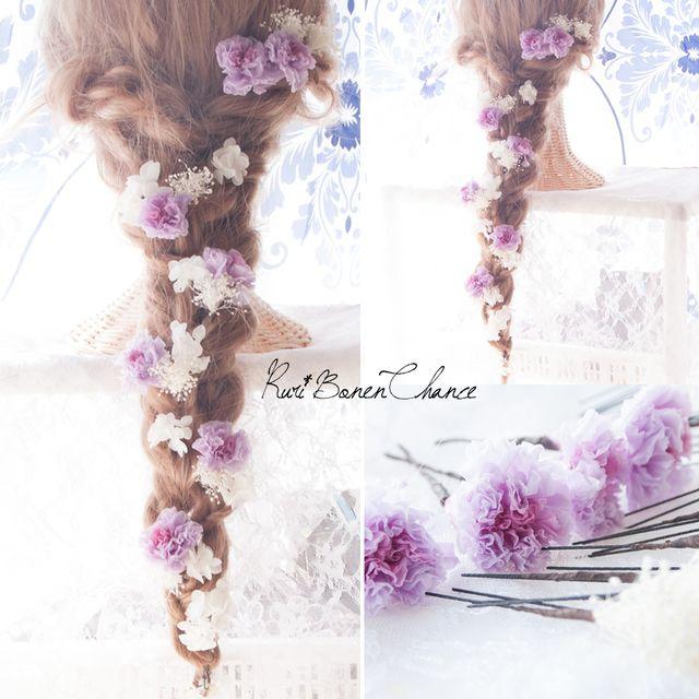 鮮やかなライラックフラワーと紫陽花かすみ草のヘッドドレス ウェディング ヘア 髪飾り ドレス 浴衣 結婚式 和 プリザーブドフラワー 袴 振袖 卒業式 成人式 Rbh 249 Hairstyle Blue Flowers Flowers