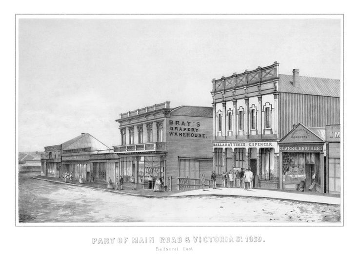 "Ballarat Times/Spencer's confectionery and Clarke's grocery  Lithographs - 2: ""Part of Main Road and Victoria Street 1859 Ballarat East"". - Victorian Collections"