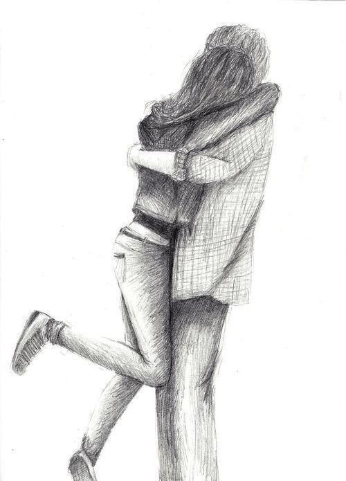 cute love sweet sketch drawing couple hug qoutes