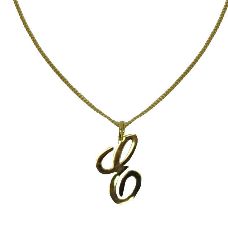 Collar Inicial Cursiva Chapa de Oro A-Z