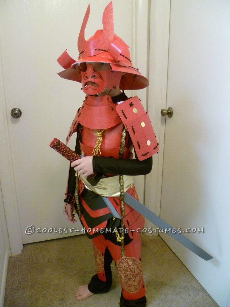 Amazing handmade samurai costume and armor for 8 year old for Diy halloween costumes for kid boy