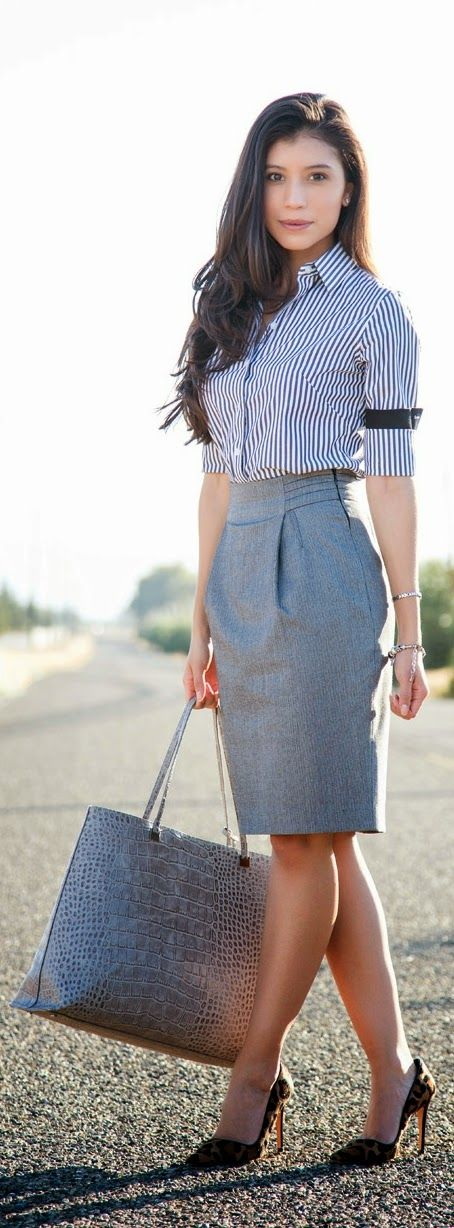 Grey Sexy Pencil Skirt with Lepord Shoes | Chic Street Outfits