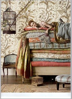 Bird & Thistle wall paper from brunschwig & fils.  this pattern originated from the 1920's  Just right for Practical Magic house