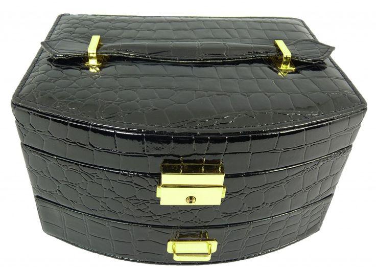 Šperkovnice koženková střední černá 5845-1   Bižuterie Kozák
