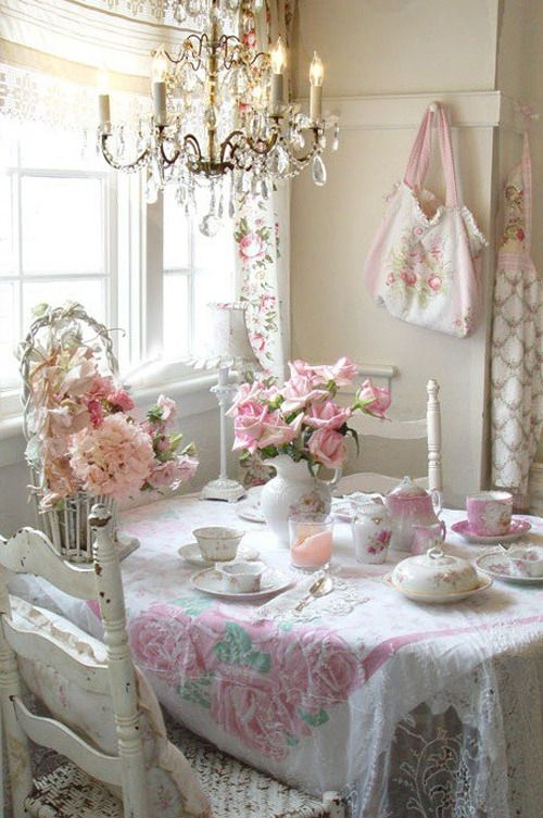 Shabby Chic Dining Room-a little too flowery but still pretty