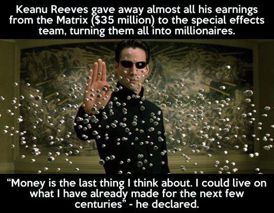Good guy Keanu Reeves.