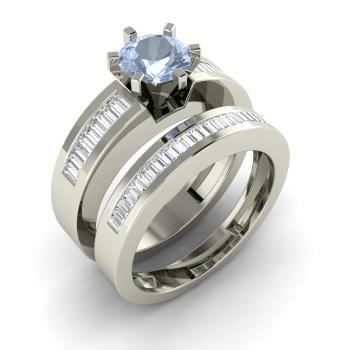 Aquamarine  and VS Diamond Bridal Set Ring in 14k White Gold