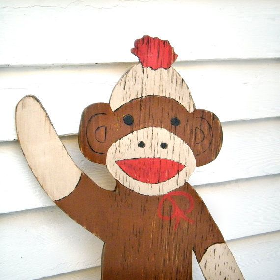 Sock Monkey Wooden Sign Kids Room Wall Decor by SlippinSouthern, $88.00 ( Maybe Johnny could make this)