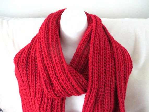 Red Super Scarf Knitted Scarf Extra Wide 9 x 103 inches