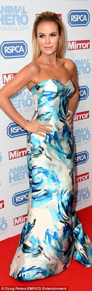 Glamorous: Amanda Holden was naturally leading the glamour at the star-studded Animal Hero Awards 2017, held at the at Grosvenor House Hotel in London on Thursday night