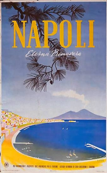 Napoli eterna primavera   Vintage travel poster   European travel #monogramsvacation
