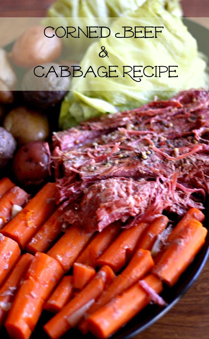 A perfect dish to make for St. Patrick;s Day! Corned Beef and Cabbage. Meat is flavorful and very tender and recipe is all cooked in a crock pot! #stpatricksday #irishfood #cornedbeef