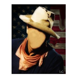 Faceless Cowboy 90x70 cm by Bisha Design