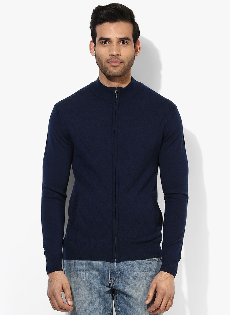 Code by Lifestyle Navy Blue High Neck Sweater - 1189
