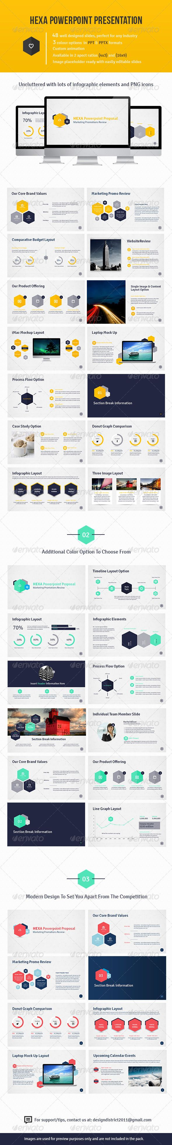 Hexa Powerpoint Presentation  #GraphicRiver         This Powerpoint Proposal has 48 slides that are easily editable. The hexa design is modern and will set you a part from your competition. The clean lines and light background gives focus to your content in a stylish way, making your content the main focus.  	 Features   48 slides in standard and widescreen formats (4:3 and 16:9)   3 colour option on light background  Png icons included  PPTX and PPT versions  Custom Animation  Image…