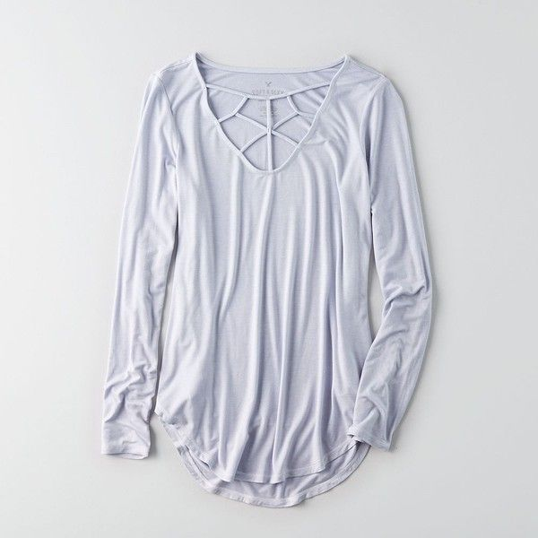 AE Soft & Sexy Cage Front T-Shirt ($30) ❤ liked on Polyvore featuring tops, t-shirts, purple, purple long sleeve t shirt, longsleeve t shirts, sexy t shirts, american eagle outfitters t shirts and zipper t shirt