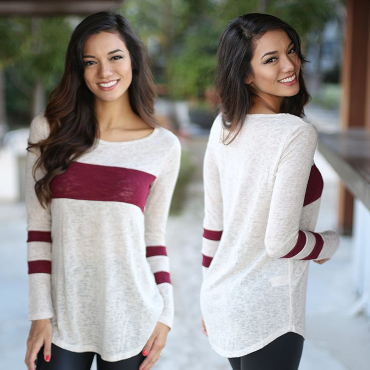 GASP! This adorable top now comes in burgundy! We are totally loving this Ivory And Burgundy Top! With its perfect fit and adorable stripes this one is a dream! Pair with our black faux leather leggings or our adorable super destroyed jeans to complete this adorable look! See other cute tops at our online dress shop!