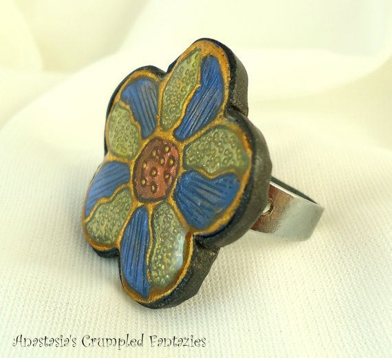 Yellow blue copper gold polymer clay faux by CrumpledFantazies
