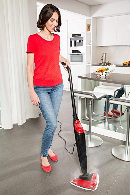 71€ +++Vileda Steam - Mopa de limpieza a vapor (Depósito de 0.4 L, gamuza de microfibras, accesorio alfombras): Amazon.es: Hogar