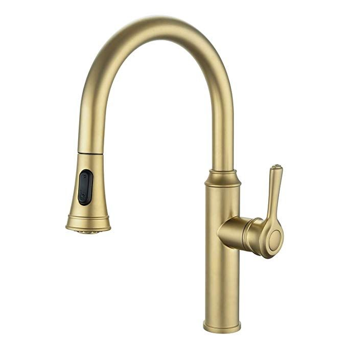 Peppermint Kitchen Sink Faucet Champagne Bronze Single Handle With