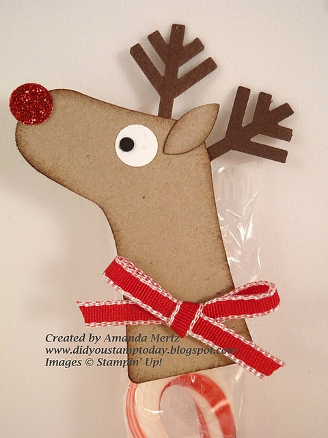 Reindeer Topper for a Candy Cane - using a Stampin' Up Stocking Punch