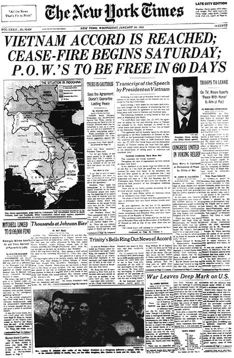 A newspaper by the New York Times on the cease-fire in Vietnam. I'm inferring that this resolution was a great moment for the people of that time to hear of the cease-fire. How did this news first get out, and how did political leaders feel about the news?