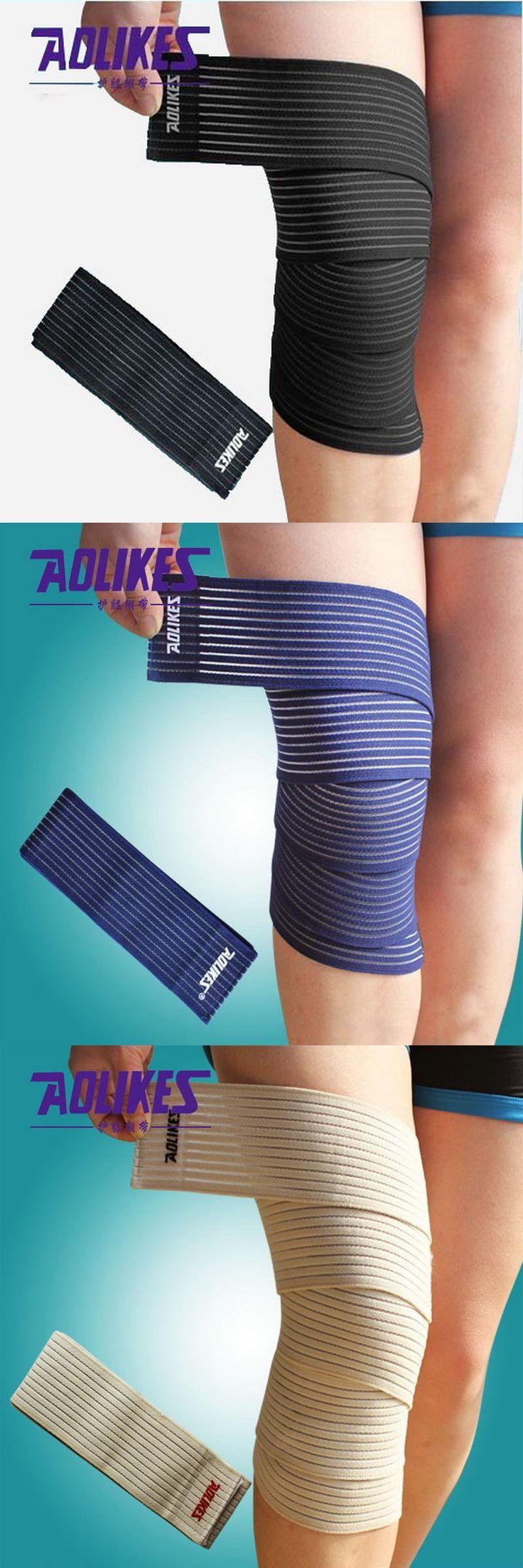 [Visit to Buy] AOLIKES 1 Pair 180*7.5 cm High Elastic Bandage For Knee Elbow Leg Compression Bandagem Elastica Sport Tape vendas para deporte #Advertisement