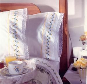 FREE Floral Embroidery Patterns: Yellow Blossoms Embroidered Sheets
