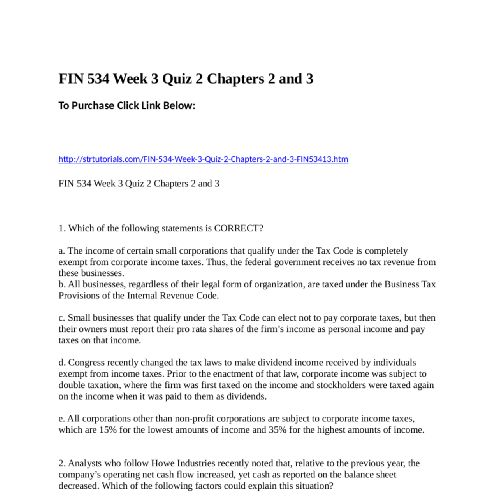 FIN 534 Week 3 Quiz 2 Chapters 2 and 3To Purchase Click Link Below - Personal Profit And Loss Statement Template
