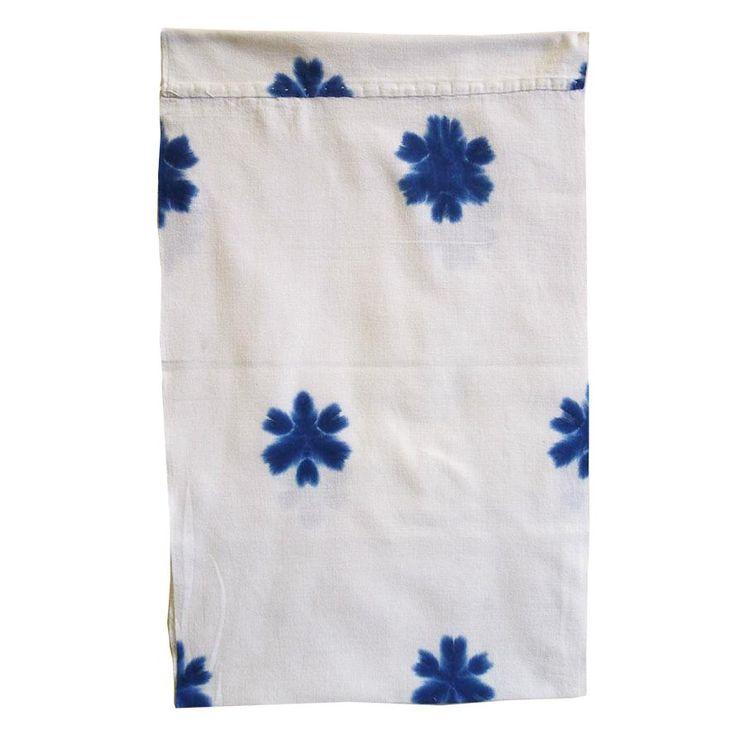 Sri | A Clamp Dyed Cotton Diaper: Indigo Snow Flowers